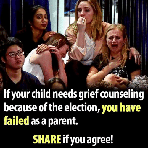 You Have Failed: HEGAS  If your child needs grief counseling  because of the election, you have  failed as aparent.  SHARE you agree!