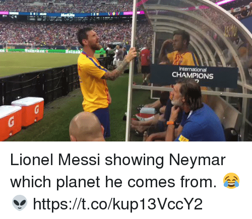 Neymar, Soccer, and Lionel Messi: Heia  International  CHAMPIONS Lionel Messi showing Neymar which planet he comes from. 😂👽   https://t.co/kup13VccY2
