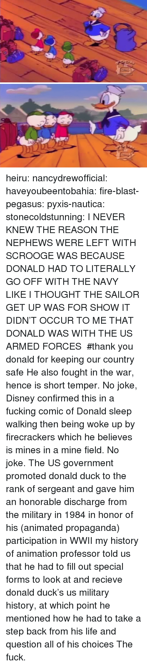 military history: heiru:  nancydrewofficial:  haveyoubeentobahia:  fire-blast-pegasus:  pyxis-nautica:  stonecoldstunning:  I NEVER KNEW THE REASON THE NEPHEWS WERE LEFT WITH SCROOGE WAS BECAUSE DONALD HAD TO LITERALLY GO OFF WITH THE NAVY LIKE I THOUGHT THE SAILOR GET UP WAS FOR SHOW IT DIDN'T OCCUR TO ME THAT DONALD WAS WITH THE US ARMED FORCES   #thank you donald for keeping our country safe  He also fought in the war, hence is short temper. No joke, Disney confirmed this in a fucking comic of Donald sleep walking then being woke up by firecrackers which he believes is mines in a mine field. No joke.  The US government promoted donald duck to the rank of sergeant and gave him an honorable discharge from the military in 1984 in honor of his (animated propaganda) participation in WWII  my history of animation professor told us that he had to fill out special forms to look at and recieve donald duck's us military history, at which point he mentioned how he had to take a step back from his life and question all of his choices  The fuck.