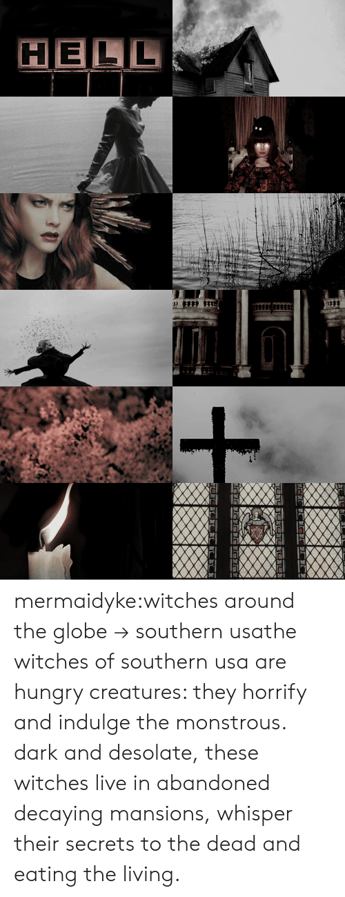 indulge: HELL mermaidyke:witches around the globe→ southern usathe witches of southern usa are hungry creatures: they horrify and indulge the monstrous. dark and desolate,these witches live in abandoned decaying mansions, whisper their secrets to the dead and eating the living.