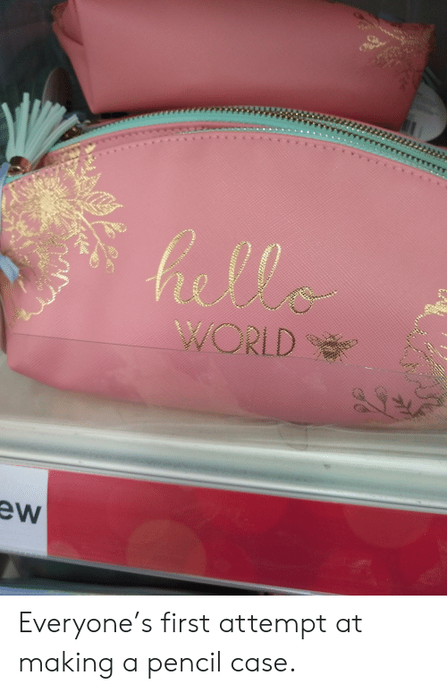 Ew: hella  WORLD  ew Everyone's first attempt at making a pencil case.