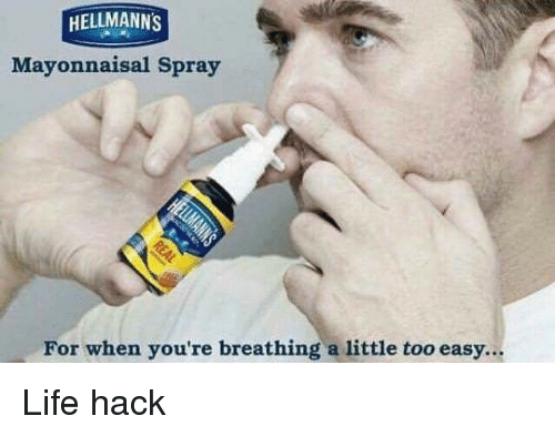 Life, Life Hack, and Dank Memes: HELLMANN'S  Mayonnaisal Spray  For when you're breathing a little too easy... Life hack