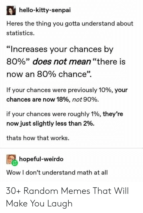 "Senpai: hello-kitty-senpai  Heres the thing you gotta understand about  statistics.  ""Increases your chances by  80%"" does not mean ""there is  now an 80% chance""  If your chances were previously 10% , your  chances are now 18% , not 90 %.  if your chances were roughly 1%, they're  now just slightly less than 2%.  thats how that works  hopeful-weirdo  Wow I don't understand math at all 30+ Random Memes That Will Make You Laugh"