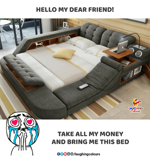 gooo: HELLO MY DEAR FRIEND!  AUGHING  TAKE ALL MY MONEY  AND BRING ME THIS BED  GOOO/laughingcolours