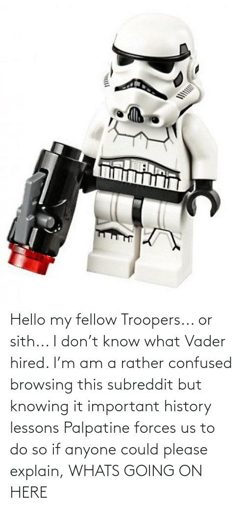 whats going on: Hello my fellow Troopers... or sith... I don't know what Vader hired. I'm am a rather confused browsing this subreddit but knowing it important history lessons Palpatine forces us to do so if anyone could please explain, WHATS GOING ON HERE