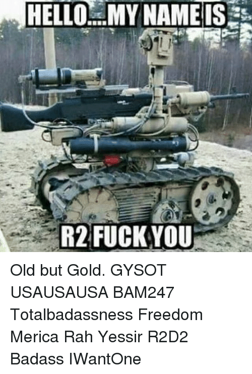 Fuck You, Hello, and Memes: HELLO MY NAME IS  R2 FUCK YOU Old but Gold. GYSOT USAUSAUSA BAM247 Totalbadassness Freedom Merica Rah Yessir R2D2 Badass IWantOne