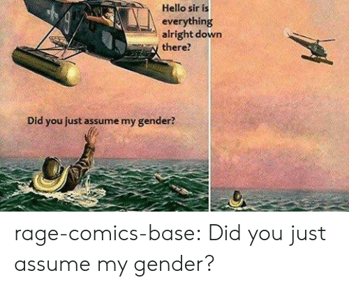 Assume My Gender: Hello sir is  everything  alright down  there?  Did you just assume my gender? rage-comics-base:  Did you just assume my gender?