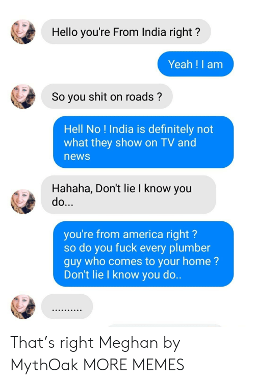 Meghan: Hello you're From India right?  Yeah !I am  So you shit on roads?  Hell No ! India is definitely not  what they show on TV and  news  Hahaha, Don't lie I know you  do...  you're from america right?  so do you fuck every plumber  guy who comes to your home?  Don't lie I know you do.. That's right Meghan by MythOak MORE MEMES