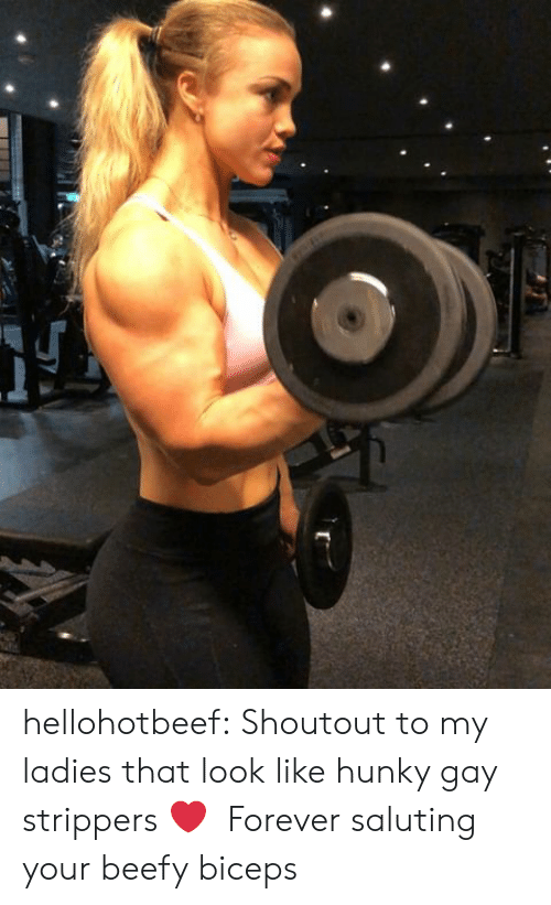 biceps: hellohotbeef:  Shoutout to my ladies that look like hunky gay strippers ❤️ Forever saluting your beefy biceps