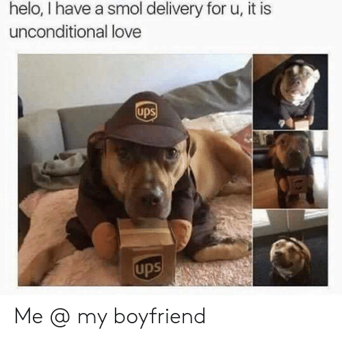 helo: helo, I have a smol delivery for u, it is  unconditional love  ups  ups Me @ my boyfriend