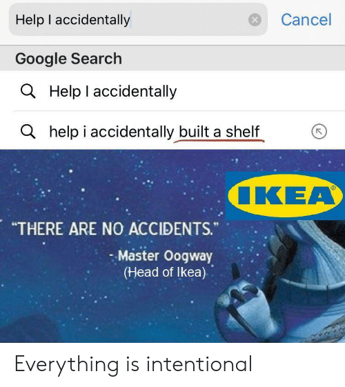 "i accidentally: Help I accidentally  Cancel  Google Search  Help I accidentally  a  ahelp i accidentally built a shelf  ιΚΕΑ  ""THERE ARE NO ACCIDENTS.""  Master Oogway  (Head of Ikea) Everything is intentional"