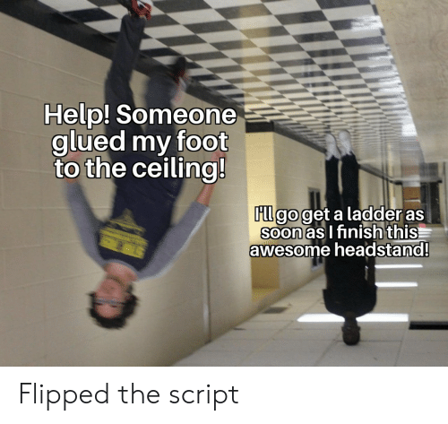script: Help! Someone  glued my foot  to the ceiling!  FLl go get a ladder as  Soon as I finish this  awesome headstand!  STER Flipped the script