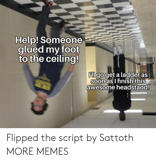 script: Help! Someone  glued my foot  to the ceiling!  FLl go get a ladder as  Soon as I finish this  awesome headstand!  STER Flipped the script by Sattoth MORE MEMES