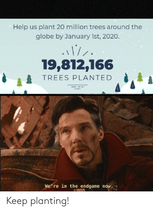 Globe: Help us plant 20 million trees around the  globe by January 1st, 2020.  19,812,166  TREES PLANTED  We' re in the endgame now. Keep planting!