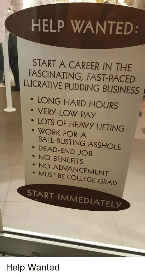 College, Funny, and Work: HELP WANTED:  START A CAREER IN THE  FASCINATING, FAST-PACED  LUCRATIVE PUDDING BUSINESS  LONG HARD HOURS  、、VERY VOW PAY  ·LOTS OF HEAVy LIFTING  . WORK FOR A  BALL-BUSTING ASSHOLE  . DEAD-END JOB  . NO BENEFITS  NO ADVANCEMENT  MUST BE COLLEGE GRAD  START IMMEDIATELY Help Wanted
