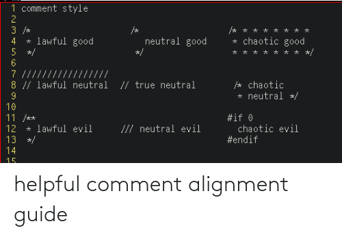 helpful: helpful comment alignment guide