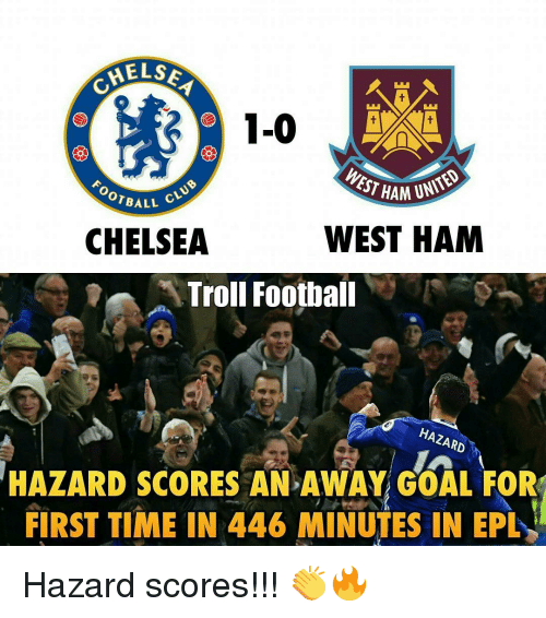 epl: HELSE  1-0  WEST UNITED  HAM  ALL cLU  WEST HAM  CHELSEA  Troll Football  HAZARD  HAZARD SCORES AN AWAY GOAL FOR  FIRST TIME IN 446 MINUTES IN EPL Hazard scores!!! 👏🔥