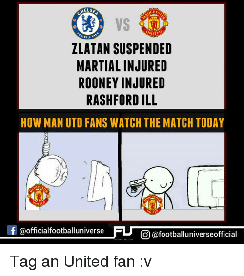 Memes, Martial, and 🤖: HELSE  NITED  ALL  ZLATAN SUSPENDED  MARTIAL INJURED  ROONEY INJURED  RASHFORDILL  HOW MAN UTD FANS WATCH THE MATCH TODAY  NITE  f @official footballuniverse  CO @footballuniverseofficial Tag an United fan :v