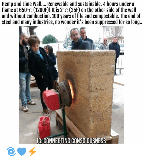 Other Side Of The Wall: Hemp and Lime Wall.. Renewable and sustainable. 4 hours undera  flame at 650°c (1200F)! It is 2°c (35F) on the other side of the wall  and without combustion. 100 years of life and compostable. The end of  steel and many industries, no wonder it's been suppressed for so long..  IG: CONNECTING CONSCIOUSNESS 🌀💙⚡