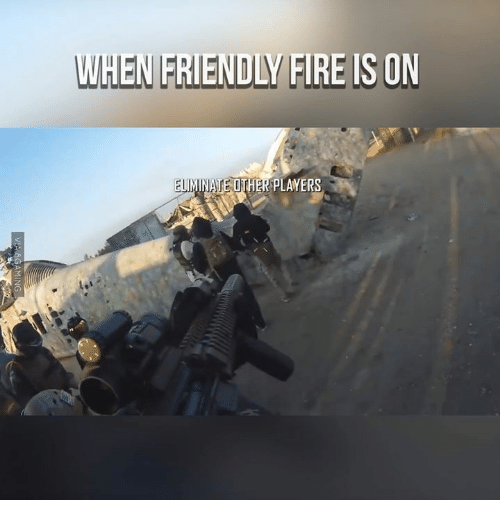 Fire, Friends, and Dank Memes: HEN FRIENDLY FIRE IS ON  OTHER PLANERS