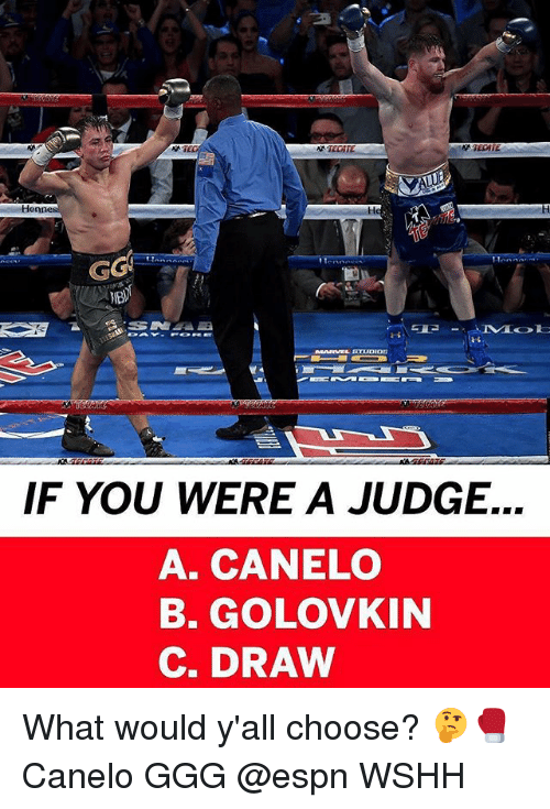 Espn, Ggg, and Memes: Hen  MARVEL STUDIO  IF YOU WERE A JUDGE.  A. CANELO  B. GOLOVKIN  C. DRAW What would y'all choose? 🤔🥊 Canelo GGG @espn WSHH