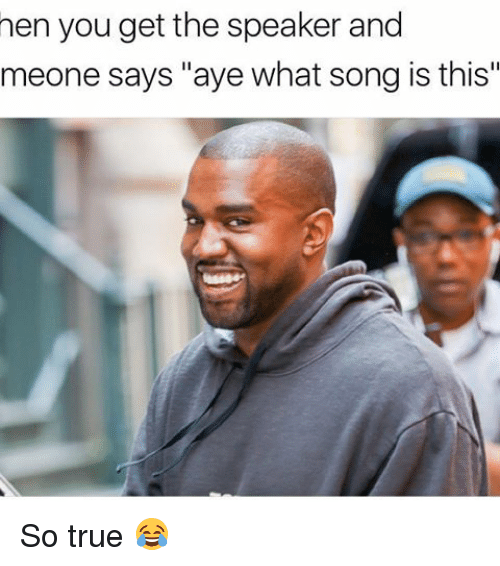 "Memes, 🤖, and Song: hen you get the speaker and  meone says ""aye what song is this"" So true 😂"