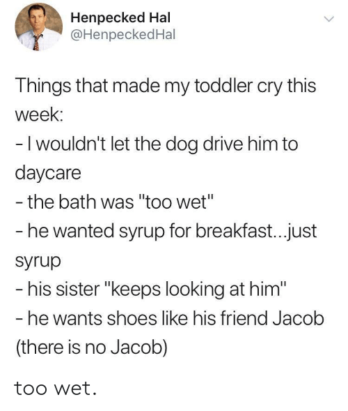 "hal: Henpecked Hal  @HenpeckedHal  Things that made my toddler cry this  week:  -I wouldn't let the dog drive him to  daycare  - the bath was ""too wet""  he wanted syrup for breakfast...just  Syrup  his sister ""keeps looking at him""  he wants shoes like his friend Jacolb  (there is no Jacob) too wet."
