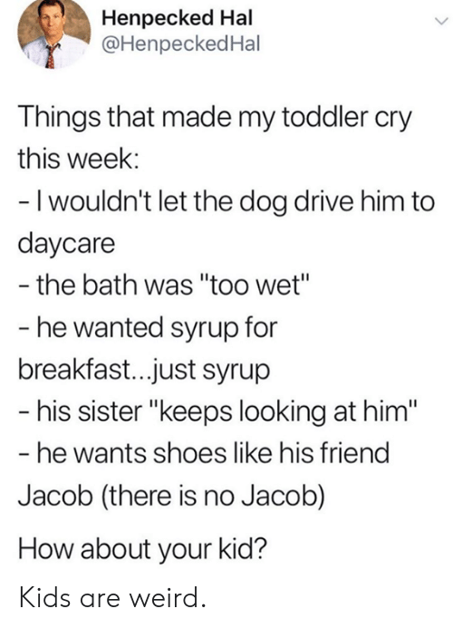"hal: Henpecked Hal  @HenpeckedHal  Things that made my toddler cry  this week:  - I wouldn't let the dog drive him to  daycare  the bath was ""too wet""  - he wanted syrup for  breakfast..just syrup  - his sister ""keeps looking at him""  - he wants shoes like his friend  Jacob (there is no Jacob)  How about your kid? Kids are weird."