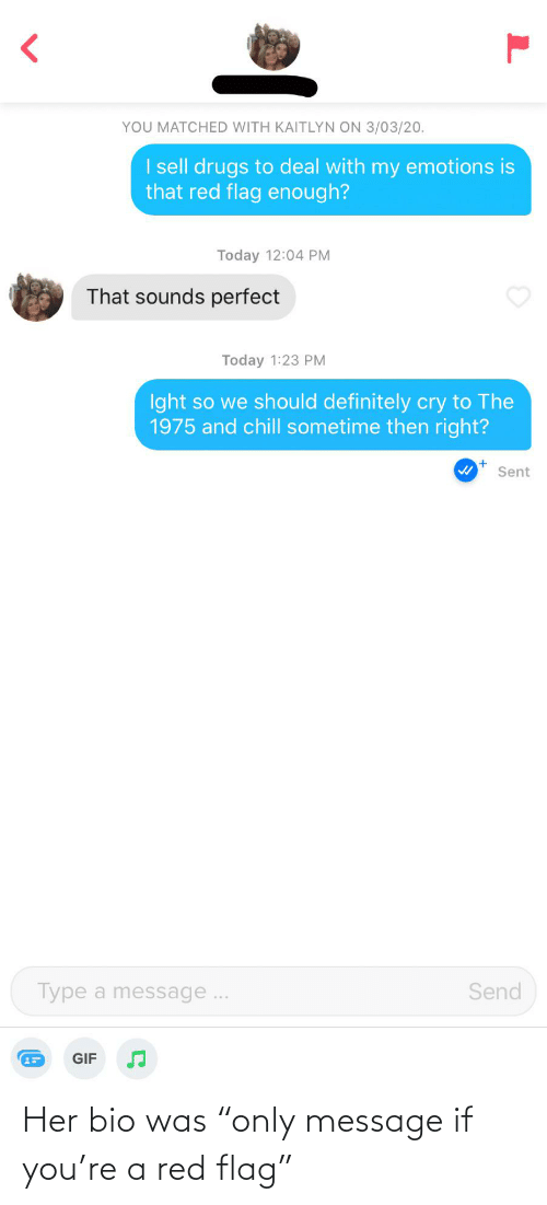 """red flag: Her bio was """"only message if you're a red flag"""""""