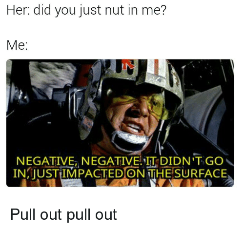 Pull Out, Im Going to Hell for This, and Her: Her: did you just nut in me?  Me:  NEGATIVE NEGATIVE IT DIDN'T GO  IN JUSTIMPACTEDONTHESURFACE