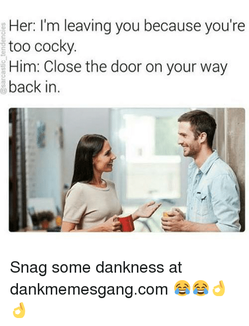 Memes, Back, and 🤖: Her: I'm leaving you because you're  too cocky  Him: Close the door on your way  back in. Snag some dankness at dankmemesgang.com 😂😂👌👌