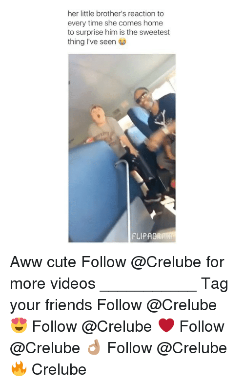 Aww, Cute, and Friends: her little brother's reaction to  every time she comes home  to surprise him is the sweetest  thing I've seen  FLIPAGRAW Aww cute Follow @Crelube for more videos ___________ Tag your friends Follow @Crelube 😍 Follow @Crelube ❤ Follow @Crelube 👌🏽 Follow @Crelube 🔥 Crelube
