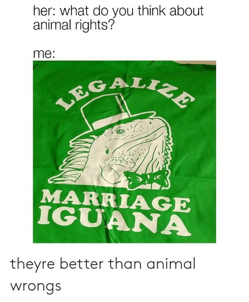 Wrongs: her: what do you think about  animal rights?  me:  GAL  MARRIAGE  IGUANA theyre better than animal wrongs