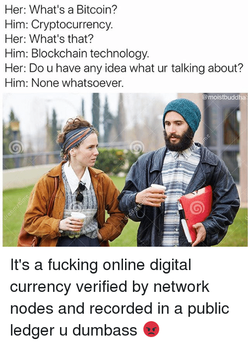 nodes: Her: What's a Bitcoin?  Him: Cryptocurrency.  Her: What's that?  Him: Blockchain technology  Her: Do u have any idea what ur talking about?  Him: None whatsoever.  @moistbuddha It's a fucking online digital currency verified by network nodes and recorded in a public ledger u dumbass 😡