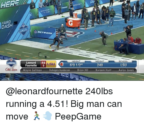 "lsu: HERA  ILIENCY  TWORMY  RESPONSIBILITY  DASH  COMBINE  SCHOOL  HEIGHT  WEIGHT  Leonard  RB  COMBINE  240  610 112""  LSU  Fournette  9  Old Spice  Wayne Gallman  DeAngelo Henderson  Brian Hill  Kareem Hunt  Aaron Jones @leonardfournette 240lbs running a 4.51! Big man can move 🏃🏾💨 PeepGame"
