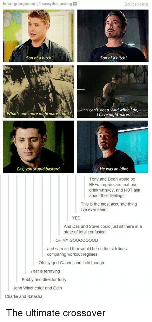 Odin: herangriergnome sassydoctorsong  Source: lostiel  Son of a bitch!  Son of a bitch!  Ican't sleep. And whenIdo,  I have nightmares  What's one more nightmare, right?  Cas, you stupid bastard  He was an idiot  Tony and Dean would be  BFFs, repair cars, eat pie  drink whiskey, and NOT talk  about their feelings  This is the most accurate thing  i've ever seen  YES  And Cas and Steve could just sit there in a  state of total confusion  OH MY GOOOOOOOD  and sam and thor would be on the sidelines  comparing workout regimes.  Oh my god Gabriel and Loki though  That is terrifying  Bobby and director furry  John Winchester and Odin  Charlie and Natasha The ultimate crossover