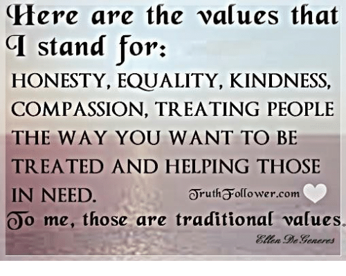Memes, Equalizer, and Help: Here are the values that  CI stand for:  HONESTY, EQUALITY, KINDNESS,  COMPASSION, TREATING PEOPLE  THE WAY YOU WANT TO BE  TREATED AND HELPING THOSE  IN NEED  orutha olCower.com  Oo me, those are traditional values.  DeGeneres