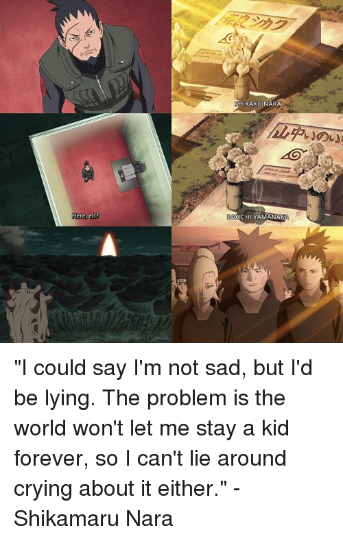 """I Cant Lie: Here, eh?  KAKU NARA  OICHI YAMANAKA """"I could say I'm not sad, but I'd be lying. The problem is the world won't let me stay a kid forever, so I can't lie around crying about it either."""" -Shikamaru Nara"""