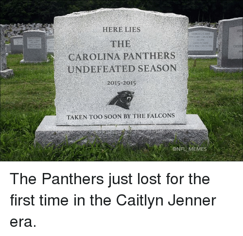 carolina panther: HERE LIES  THE  CAROLINA PANTHERS  UNDEFEATED SEASON  2015-2015  TAKEN Too sooN BY THE FALCONS The Panthers just lost for the first time in the Caitlyn Jenner era.