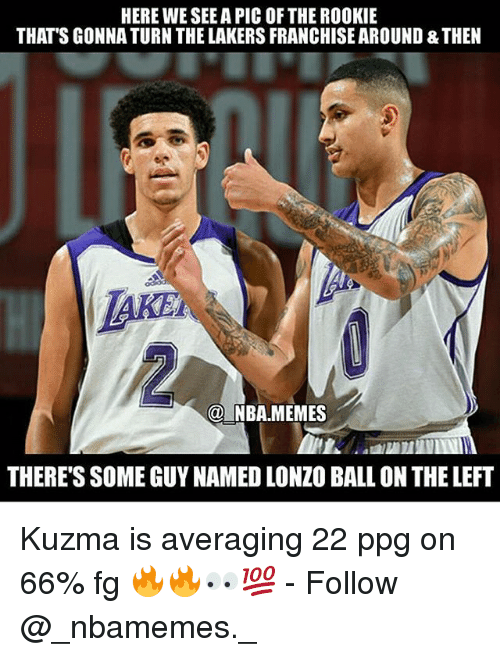 Los Angeles Lakers, Memes, and Nba: HERE WE SEE A PIC OF THE ROOKIE  THAT'S GONNA TURN THE LAKERS FRANCHISE AROUND & THEN  @ NBA.MEMES  THERE'S SOME GUY NAMED LONZO BALL ON THE LEFT Kuzma is averaging 22 ppg on 66% fg 🔥🔥👀💯 - Follow @_nbamemes._