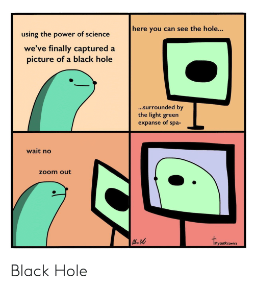 the hole: here you can see the hole...  using the power of science  we've finally captured a  picture of a black hole  ...surrounded by  the light green  expanse of spa-  wait no  zoom out  inysnekcomics Black Hole