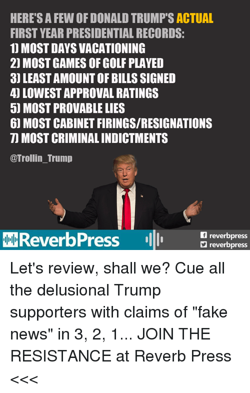 "the resistance: HERE'S A FEW OF DONALD TRUMP'S ACTUAL  FIRST YEAR PRESIDENTIAL RECORDS:  1) MOST DAYS VACATIONING  2) MOST GAMES OF GOLF PLAYED  3) LEAST AMOUNT OF BILLS SIGNED  4) LOWEST APPROVAL RATINGS  5) MOST PROVABLE LIES  61 MOST CABINET FIRINGS/RESIGNATIONS  7) MOST CRIMINAL INDICTMENTS  @Trollin_Trump  MOReverbPress  reverbpres  ロreverbpress Let's review, shall we?  Cue all the delusional Trump supporters with claims of ""fake news"" in 3, 2, 1...  JOIN THE RESISTANCE at Reverb Press <<<"