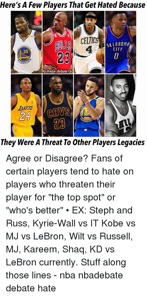 """threating: Here's A Few Players That Get Hated Because  CELTICS  4  OKLAHOM  CITY  35  29  IG:@nba debate16  AKERS  24 CAVS  29  ARRIO  They Were A Threat To Other Players Legacies Agree or Disagree? Fans of certain players tend to hate on players who threaten their player for """"the top spot"""" or """"who's better"""" • EX: Steph and Russ, Kyrie-Wall vs IT Kobe vs MJ vs LeBron, Wilt vs Russell, MJ, Kareem, Shaq, KD vs LeBron currently. Stuff along those lines - nba nbadebate debate hate"""