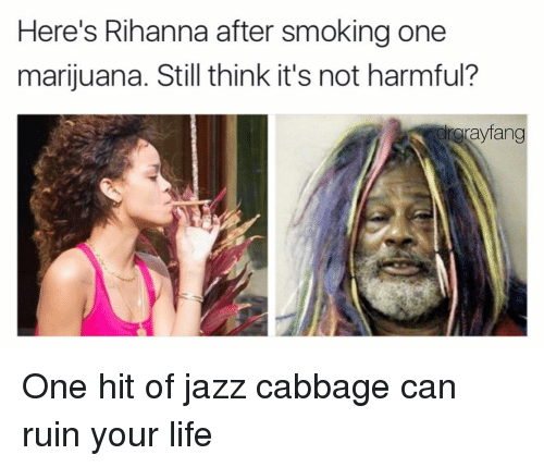 One Marijuanas: Here's Rihanna after smoking one  marijuana. Still think it's not harmful?  grayfang One hit of jazz cabbage can ruin your life