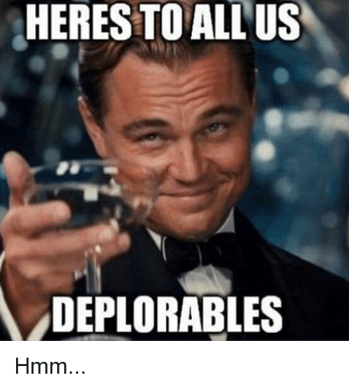 memes: HERES TO ALL US  A DEPLORABLES Hmm...