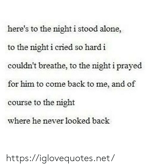 Heres To: here's to the night i stood alone,  to the night i cried so hard i  couldn't breathe, to the night i prayed  for him to come back to me, and of  course to the night  where he never looked back https://iglovequotes.net/