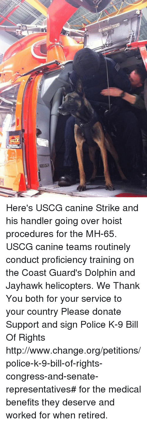 jayhawk: Here's USCG canine Strike and his handler going over hoist procedures for the MH-65. USCG canine teams routinely conduct proficiency training on the Coast Guard's Dolphin and Jayhawk helicopters. We Thank You both for your service to your country Please donate Support and sign Police K-9 Bill Of Rights http://www.change.org/petitions/police-k-9-bill-of-rights-congress-and-senate-representatives# for the medical benefits they deserve and worked for when retired.