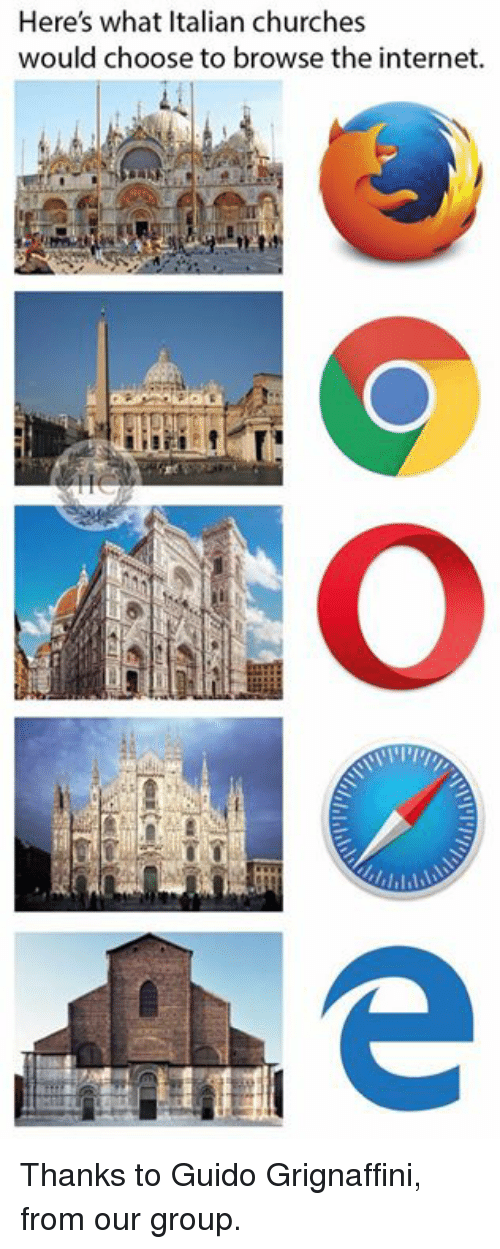 Internet, Memes, and 🤖: Here's what Italian churches  would choose to browse the internet. Thanks to Guido Grignaffini, from our group.