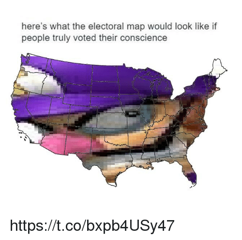 Conscience: here's what the electoral map would look like if  people truly voted their conscience https://t.co/bxpb4USy47