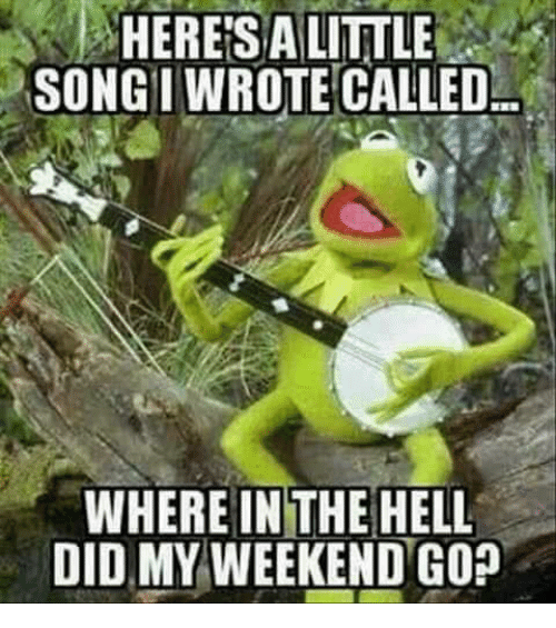 Dank, Hell, and 🤖: HERESALITTLE  SONGI WROTE CALLED  WHERE IN THE HELL  DID MY WEEKEND GO?